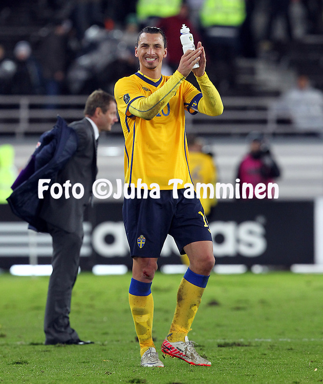 7.11.2011, Olympiastadion, Helsinki..UEFA European Championship 2012 Qualifying match, Finland v Sweden .Zlatan Ibrahimovic (Sweden) thanking the fans after the match...
