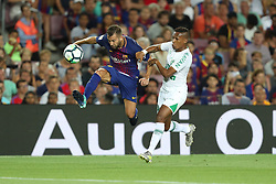 August 7, 2017 - Barcelona, Spain - Jordi Alba of FC Barcelona duels for the ball with Guerrero of Chapecoense during the 2017 Joan Gamper Trophy football match between FC Barcelona and Chapecoense on August 7, 2017 at Camp Nou stadium in Barcelona, Spain. (Credit Image: © Manuel Blondeau via ZUMA Wire)