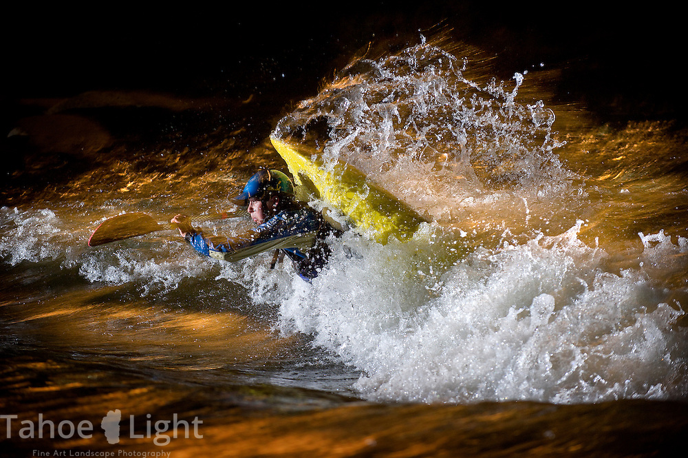 Junior World Champion Jason Craig practices at night in hole three of the Reno Whitewater park just before the Reno Riverfestival. May 2008.