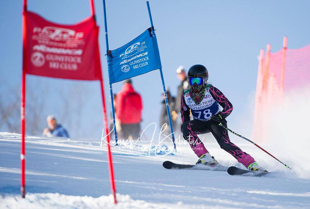 Francis Piche Invitational U12 girls first run with Gunstock Ski Club.  <br /> &copy;2017 Karen Bobotas Photographer