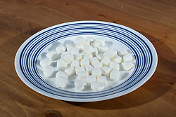 26 August 2015:   Studio - A plate full of miniature marshmallows