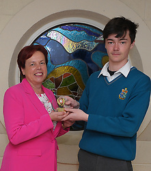 Sancta Maria College Awards 2018<br /> Leaving Cert students of the Year Luke Power accecpting the award from Pauline Moran.<br />Pic Conor McKeown