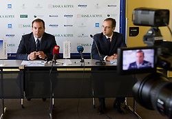 Director of the tournament Andrej Bizjak and Igor Radovic of Banka Koper at press conference of Banka Koper Slovenia Open tennis tournament of Sony Ericsson WTA Tour, on July 13, 2010 at Mons hotel, Ljubljana, Slovenia. (Photo by Vid Ponikvar / Sportida)