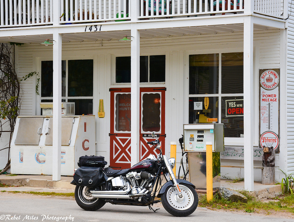 Harley Davidson Resting In Front Of A General Store In Bliss Michigan