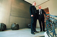 Fran&ccedil;ois Pinault and his son Fran&ccedil;ois Henri Pinault at their Paris offices. Pinault is founding director of the Art&eacute;mis Group, a family holding company in the global retail and luxury goods business. The company has 80,000 employees in 65 countries and owns such brands as PPR (Pinault-Printemps-Redoute) Conforama, Redcats, Fnac and CFAO, and the Luxury brands of Gucci Group (Gucci, Yves Saint Laurent, Bottega Veneta, YSL Beaut&eacute;, Boucheron, Sergio Rossi, B&eacute;dat &amp; Co, Alexander McQueen, Stella McCartney and Balenciaga). He is also one of France's largest private collectors of contemporary art.<br /> Paris, France. 18/02/2003