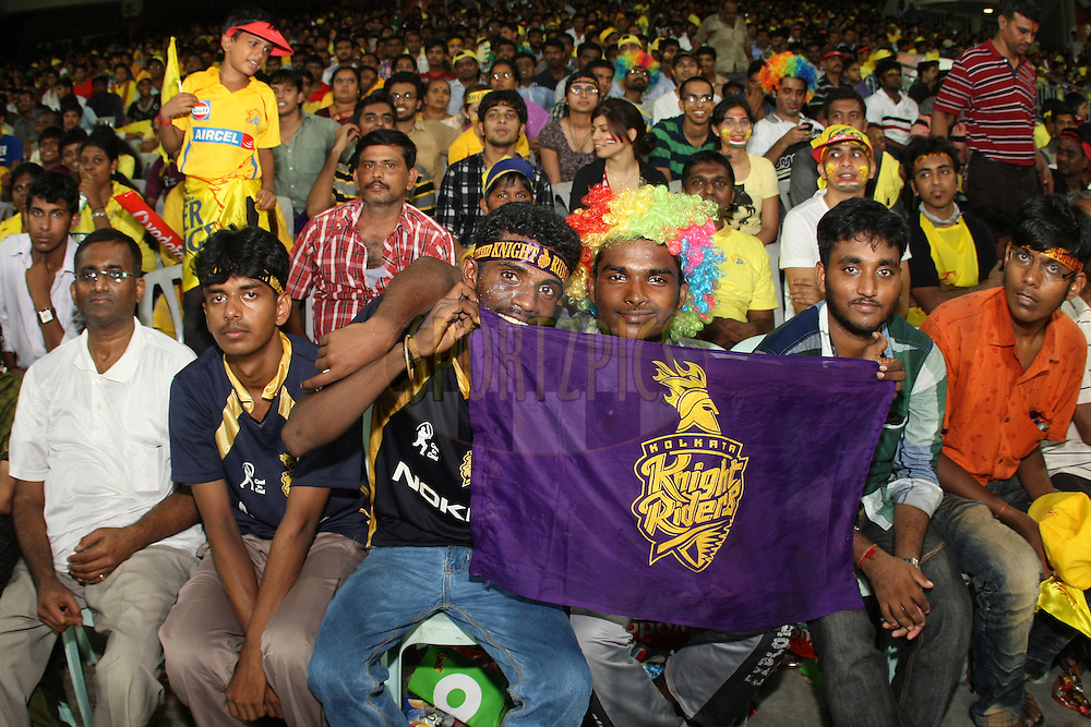 Spectators enjoying the atmosphere during the final of the Indian Premier League ( IPL ) 2012  between The Kolkata Knight Riders and the Chennai Superkings held at the M. A. Chidambaram Stadium, Chennai on the 27th May 2012..Photo by Jacques Rossouw/IPL/SPORTZPICS