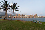 A view of Waikiki from Magic Island with windblown plam trees.