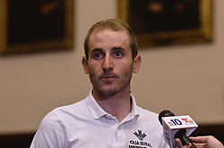 2015 PICC winner CARLOS BARBERO of Spain, with Team Caja Rural is seen at the official kick-off for the 2016 Philadelphia International Cycling Classic bike race weekend as Mayor Jim Kenney, joined by members of the Irish National Pro-cycling team, race and city officials held a June 3rd, 2016 press conference at CityHall, Philadelphia Pennsylvania. Pro-cyclist will compete at a 73.8miles/118.7km course for the UCI Women's World Tour and 110.7miles/178.2km for the UCI 1.1 Men's America Tour during the Philadelphia Cycling Classic on Sunday June 5th, 2016.