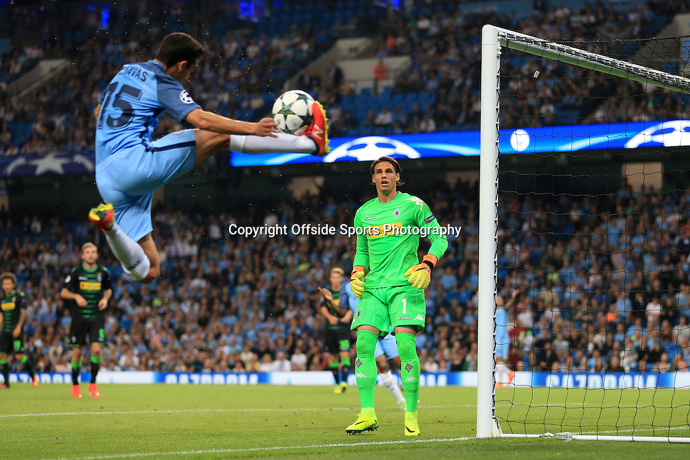 14th September 2016 - UEFA Champions League - Group C - Manchester City v Borussia Monchengladbach - Monchengladbach goalkeeper Yann Sommer watches as Jesus Navas of Man City controls the ball in mid-air on the byline - Photo: Simon Stacpoole / Offside.