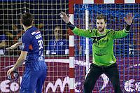 Dragan Gajic / Mickael Robin - 05.03.2015 - Montpellier / Cesson Rennes - 17eme journee de Division 1<br />Photo : Andre Delon / Icon Sport