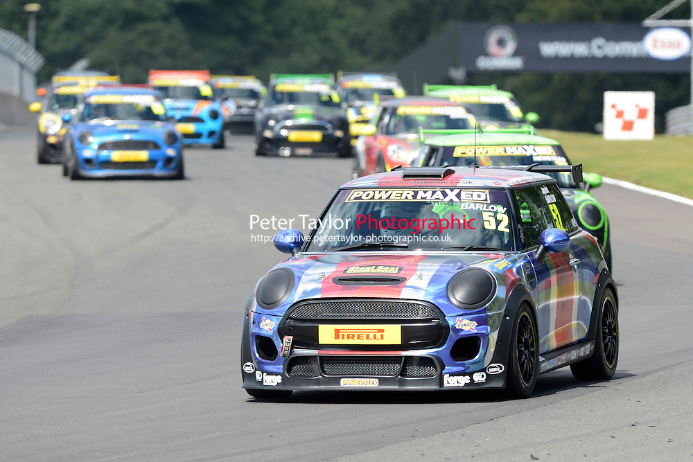#52 Jason Barlow Mini F56 during Power Maxed Mini Challenge - F56/JCW - Race 1 as part of the Mini Festival  at Oulton Park, Little Budworth, Cheshire, United Kingdom. August 08 2015. World Copyright Peter Taylor. Copy of publication required for printed pictures.  Every used picture is fee-liable. http://archive.petertaylor-photographic.co.uk