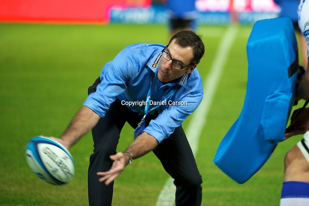 Force coach Richard Graham gets involved pre-match. Super 15 Rugby Match - Western Force v HSBC Waratahs. Perth, Western Australia, nib Stadium. Saturday 9th April 2011. Photo: Daniel Carson|PHOTOSPORT