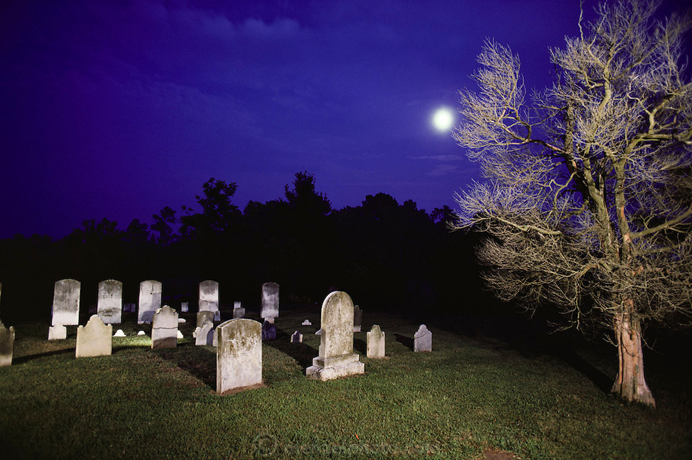 Moon over a Virginia cemetery. USA.