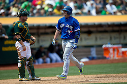 OAKLAND, CA - JULY 23:  Josh Donaldson #20 of the Toronto Blue Jays celebrates after hitting a home run against the Oakland Athletics during the fifth inning at O.co Coliseum on July 23, 2015 in Oakland, California. The Toronto Blue Jays defeated the Oakland Athletics 5-2. (Photo by Jason O. Watson/Getty Images) *** Local Caption *** Josh Donaldson