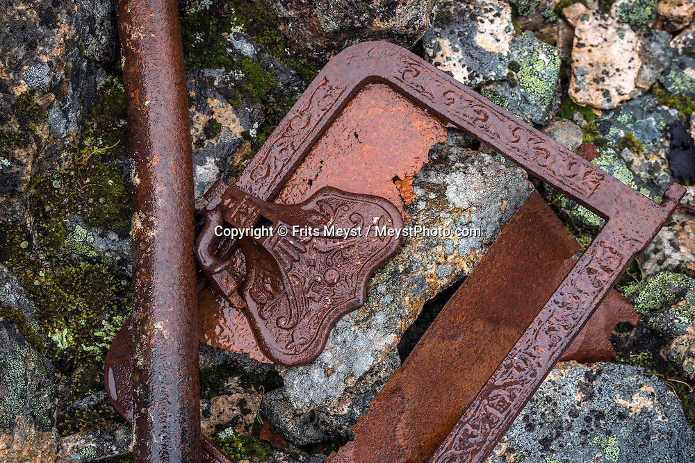 Yukon Territory, Canada, September 2014. Stampeders goods, metal chains and steel cables of the Chilkoot pass on the Chilkoot Trail. Gold Rust! Remnants of the Klondyke Gold Rush Left in the Yukon Landscape. The Yukon Territory received world fame during the Klondike Gold Rush in 1898.  Photo by Frits Meyst / MeystPhoto.com
