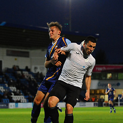 TELFORD COPYRIGHT MIKE SHERIDAN Aaron Williams of Telford battles for a header during the National League North fixture between AFC Telford United and Gloucester City at the New Bucks Head Stadium on Tuesday, September 3, 2019<br /> <br /> Picture credit: Mike Sheridan<br /> <br /> MS201920-015