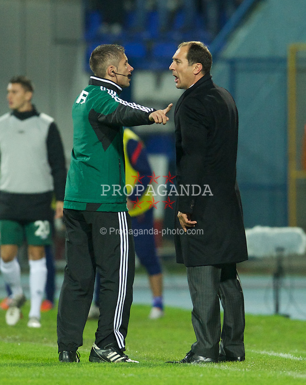OSIJEK, CROATIA - Tuesday, October 16, 2012: Croatia's head coach Igor Stimac is ordered off the pitch by the fourth official during the Brazil 2014 FIFA World Cup Qualifying Group A match against Wales at the Stadion Gradski Vrt. (Pic by David Rawcliffe/Propaganda)