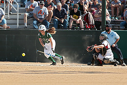 09 May 2014:  Kyley McKeown bats, Maddie Dieleman catches during an NCAA Division III women's softball championship series game between the Lake Forest Foresters and the Illinois Wesleyan Titans in Bloomington IL