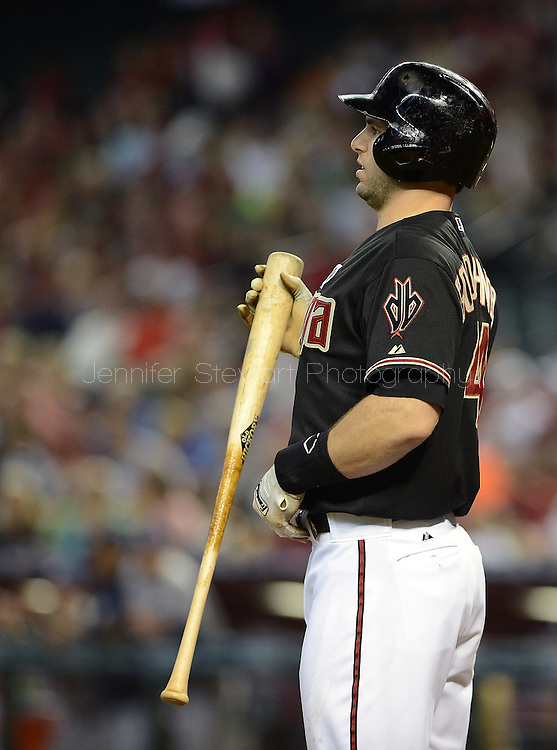 Jul 14, 2013; Phoenix, AZ, USA;  Arizona Diamondbacks infielder Paul Goldschmidt (44) at bat against the Milwaukee Brewers at Chase Field. The Brewers defeated the Diamondbacks 5-1. Mandatory Credit: Jennifer Stewart-USA TODAY Sports