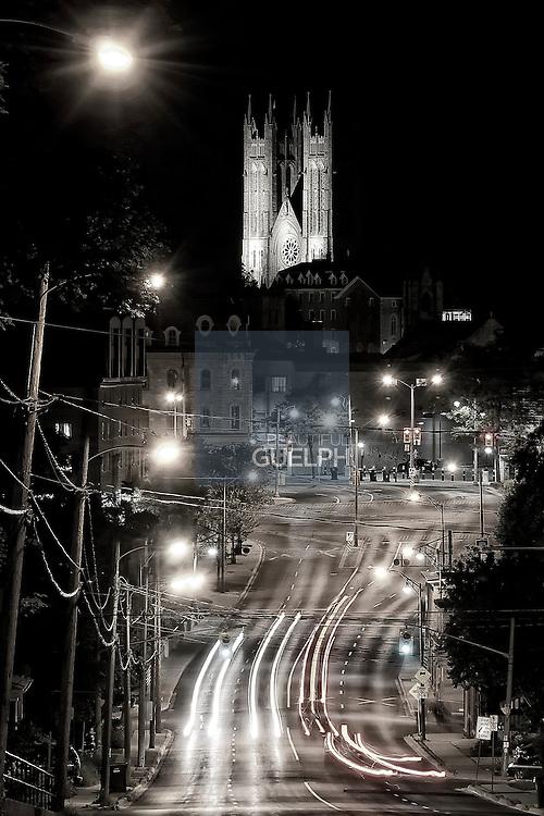 Looking down Eramosa road towards the Basilica.  Shot at night by Ian Thomas