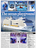 A great shot of a helicopter framed by the huge Anthem of the Seas cruise ship, featured in the Daily Mail.