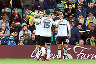David Nugent of Derby County celebrates scoring his side&rsquo;s 1st goal during the Sky Bet Championship match at Carrow Road, Norwich<br /> Picture by Paul Chesterton/Focus Images Ltd +44 7904 640267<br /> 28/10/2017