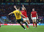 Australia's fly half Bernard Foley clearing the Australian lines during the Rugby World CupPool A match between Australia and Wales at Twickenham, Richmond, United Kingdom on 10 October 2015. Photo by Matthew Redman.