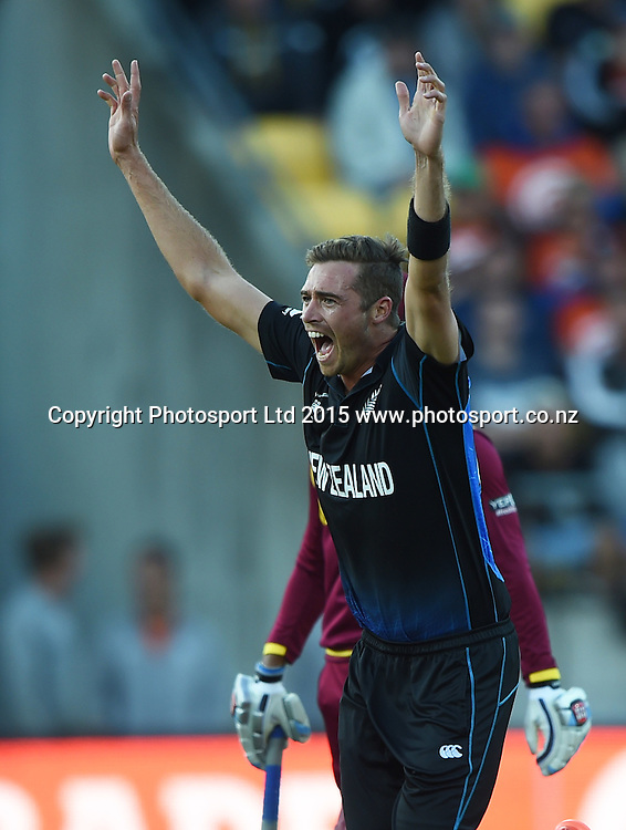Tim Southee celebrates during the ICC Cricket World Cup quarter final match between New Zealand Black Caps and the West Indies, Wellington, New Zealand. Saturday 21March 2015. Copyright Photo: Andrew Cornaga / www.Photosport.co.nz