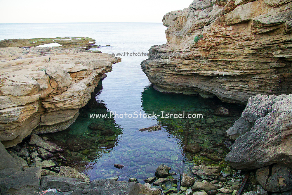 The rocky beach of Achziv, Israel near Rosh Hanikra