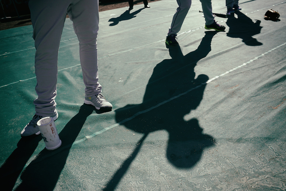 San Diego, CA - JUNE 04:   Nolan Arenado's shadow is cast during battig practice before game with the Padres  at Petco Park during game with the San Diego Padres San Diego, California.  (Sandy Huffaker for ESPN)
