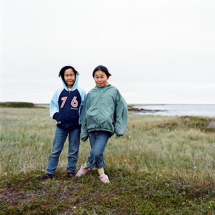 NEWTOK, ALASKA - 2008: Hanna and Sabrina.