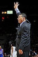 Jan 30, 2008; Manhattan, KS, USA; Kansas State Wildcats head coach Frank Martin sends in a play in the first half against the Kansas Jayhawks at Bramlage Coliseum in Manhattan, KS. Kansas State upset the 2nd ranked Kansas Jayhawks 84-75. Mandatory Credit: Peter G. Aiken-US PRESSWIRE