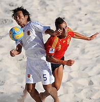 FIFA BEACH SOCCER WORLD CUP 2008 SPAIN - JAPAN   22.07.2008 Teruki TABATA (JPN, l) against Javier TORRES (ESP).