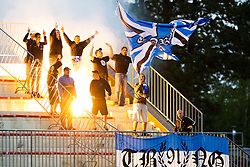 ND Gorica fans during football match between NK Triglav Kranj and ND Gorica, 7th Round of Prva Liga, on 26 August, 2012, in Sportni center, Kranj, Slovenia. (Photo by Grega Valancic / Sportida)