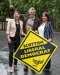 Scottish Lib Dem leader Willie Rennie celebrates quadrupling the party's MP's at the general election, with new MP's Jo SWinson and Christine Jardine.<br /> <br /> &copy; Dave Johnston/ EEm