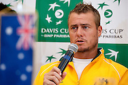 Lleyton Hewitt from Australia while press conference three days before the BNP Paribas Davis Cup 2013 between Poland and Australia at Torwar Hall in Warsaw on September 10, 2013.<br /> <br /> Poland, Warsaw, September 10, 2013<br /> <br /> Picture also available in RAW (NEF) or TIFF format on special request.<br /> <br /> For editorial use only. Any commercial or promotional use requires permission.<br /> <br /> Photo by © Adam Nurkiewicz / Mediasport
