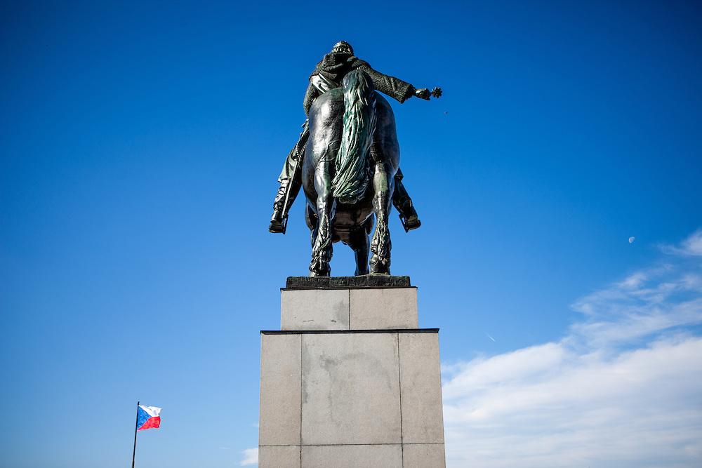 "Statue of Jan Zizka by Bohumil Kafka on Vítkov Hill in Prague. Jan Zizka z Trocnova a Kalicha (English: John Zizka of Trocnov and the Chalice) (c. 1360–1424) was a Czech general and Hussite leader, follower of Jan Hus, born in the small village of Trocnov (now part of Borovany) in Bohemia. He was nicknamed ""One-eyed Zizka""."