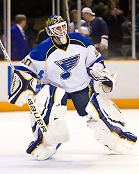 January 6, 2010; San Jose, CA, USA; St. Louis Blues goalie Chris Mason (50) before the game against the San Jose Sharks at HP Pavilion. San Jose defeated St. Louis 2-1 in overtime. Mandatory Credit: Jason O. Watson / US PRESSWIRE