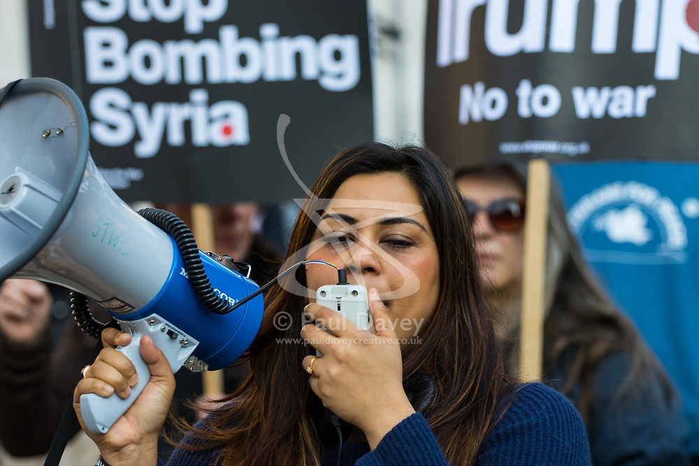 London, April 7th 2017. Anti war protesters demonstrate in London outside Downing Street following the US missile strikes against a Syrian air base in the wake of a suspected chemical attack. Credit: Paul Davey