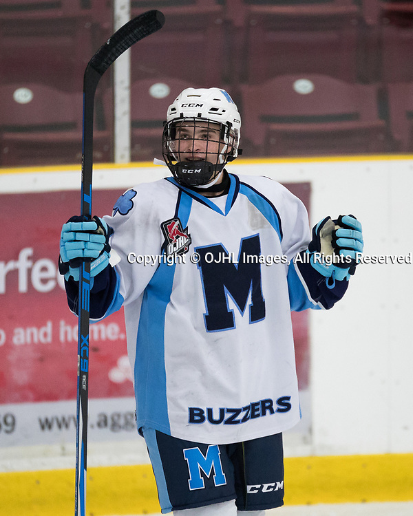 MISSISSAUGA, ON - SEP 13, 2017: Ontario Junior Hockey League game between the Mississauga Chargers and the St. Michael's Buzzers, Dylan Jackson #21 of the St. Michael's Buzzers celebrates a goal scored during the second period.<br /> (Photo by Kevin Raposo / OJHL Images)