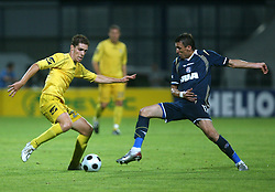 Luka Zinko  (23) of Domzale and Mario Mandzukic of Dinamo at 1st football game of 2nd Qualifying Round for UEFA Champions league between NK Domzale vs HNK Dinamo Zagreb, on July 30, 2008, in Domzale, Slovenia. Dinamo won 3:0. (Photo by Vid Ponikvar / Sportal Images)