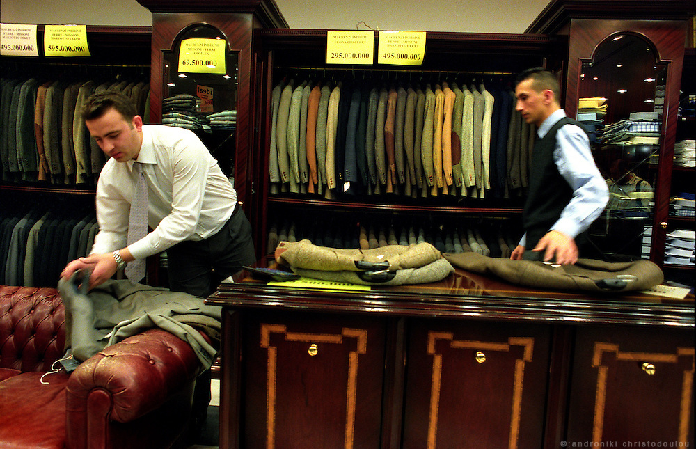 A suit-shoop in Akmerkez, the biggest shopping center in Istanbul. Akmerkez is located in Etiler and it serves the needs of the rich Turkish customers that live in the area..ISTANBUL, Androniki Christodoulou/WorldPictureNews