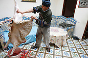 Marrakech, Maroc. 21 Decembre 2007..Aid El Kebir est une des fetes les plus importantes de l'Islam. ..Marrakesh, Morocco. December 21st 2007..The butcher is taking off the sheep's skin after cutting its throat to celebrate Eid Al-Adha. Eid Al-Adha is one of the most important celebrations in the Islam traditions.