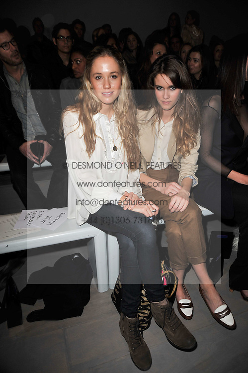 Left to right, FLORENCE BRUDENELL-BRUCE and JADE WILLIAMS at the Issa Autumn Winter 2011 fashion show as part of the London Fashion Week held at Somerset House, Strand, London on 19th February 2011.