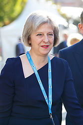 © Licensed to London News Pictures. 06/10/2015. Manchester, UK. Home Secretary Theresa May attending Conservative Party Conference at Manchester Central on Tuesday, 6 October 2015. Photo credit: Tolga Akmen/LNP