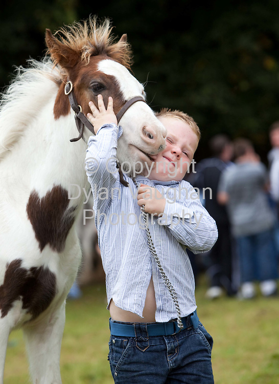 15/8/2009.Fano McDonald aged 4 from Tullamore pictured at the annual Borris Horse Fair in County Carlow on Saturday..Picture Dylan Vaughan.