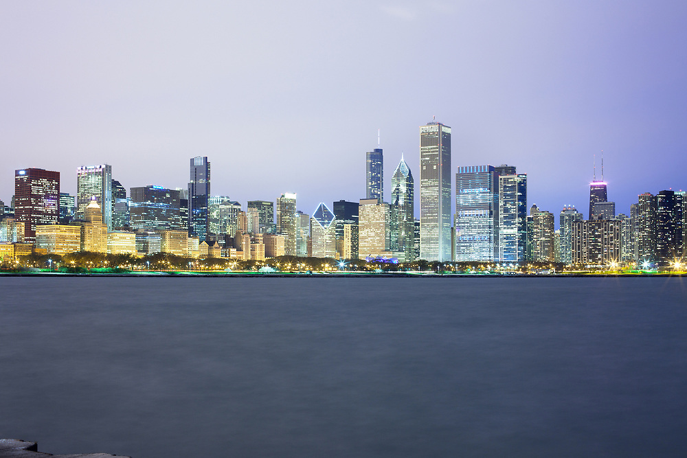 Downtown city skyline at night, Chicago, Illinois, USA
