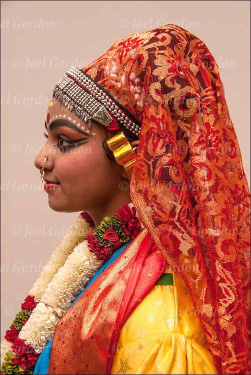 Profile  of young adolescent,third generation India American, Hindu classical dancer showing her ethnic pride at the India Independence Day in NYC.