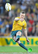 Matt Giteau with his first unsuccessful penalty attempt in front during the 1st half in action from the Rugby Union Test Match played between Australia and Ireland at Suncorp Stadium (Brisbane) on Saturday 26th June 2010 ~ Australia (22) defeated Ireland (15) ~ © Image Aura Images.com.au ~ Conditions of Use: This image is intended for Editorial use as news and commentry in print, electronic and online media ~ Required Image Credit : Steven Hight (AURA Images)For any alternative use please contact AURA Images