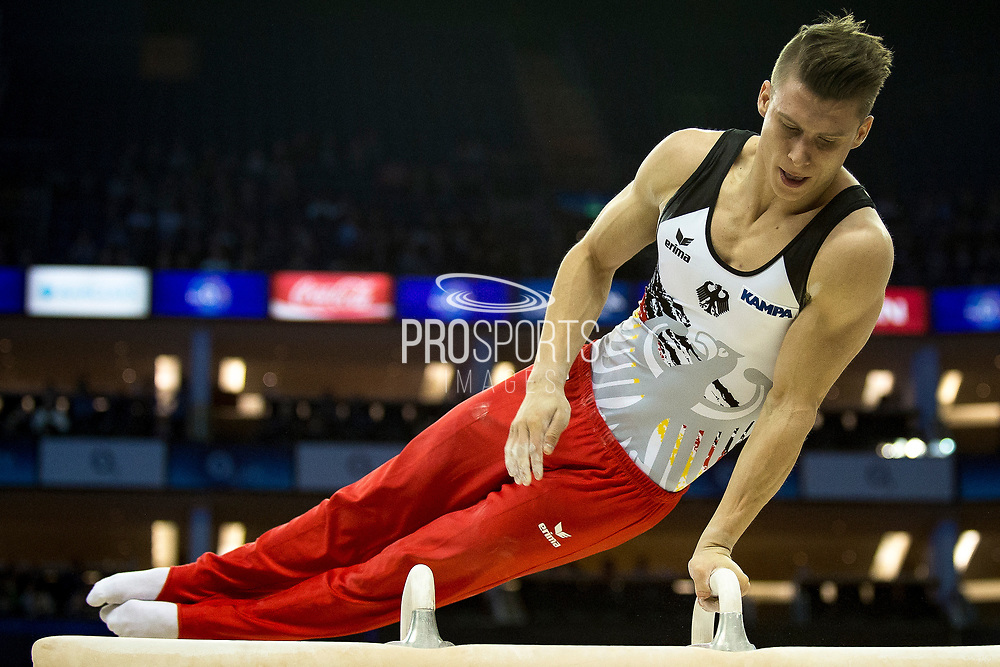 Lukas Dauser of Germany (GER) during his Pommel Horse routine on his way to a Bronze Medal at the iPro Sport World Cup of Gymnastics 2017 at the O2 Arena, London, United Kingdom on 8 April 2017. Photo by Martin Cole.